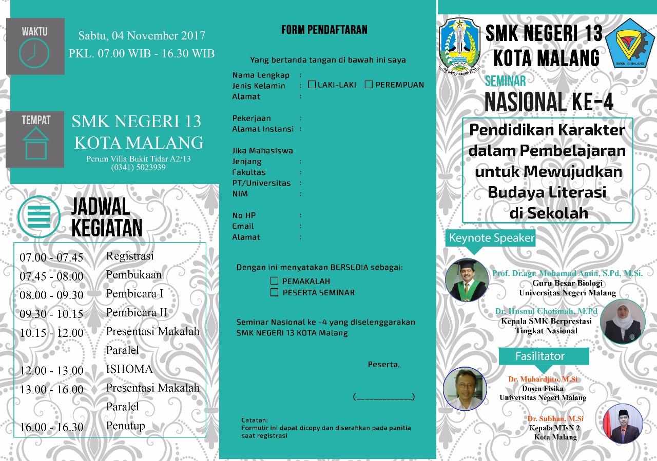Brosur Seminar Nasional Belakang